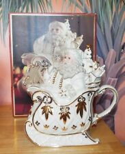 Lenox For The Holidays Florentine & Pearl Santa Teapot. Never Used