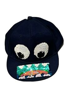 H&M Quirky Sequin Face Navy Blue Hat / Baseball Cap NWOT Size 4-8 Y