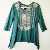 Johnny Was Embroidered Boho Blouse -Heathered Blue Beige 3/4 Sleeve Asymmetric M