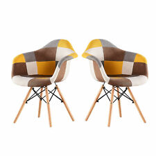 Modern Living Dining Room Accent Arm Chairs Set of 2 Linen Fabric Dining Chair