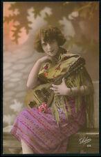 bb Mandolin Music Lady with Spanish Shawl original old c1920 photo postcard