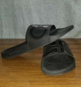 Salvatore Ferragamo Men's Groove Slide Sandals Black Size US 12