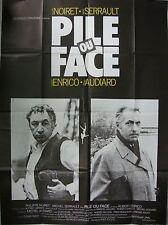 Affiche PILE OU FACE. 120x160 cms. Serrault, Noiret, Enrico, Audiard, Ferracci