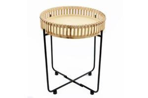 Bamboo Rattan Round Wood Folding Metal Lamp Coffee End Side Tray Table Boho