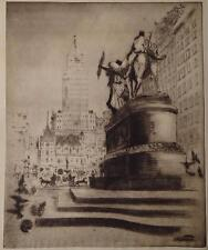 "ORIGINAL ETCHING BY JAPANESE ARTIST FUJI (FUGI) NAKAMIZO ""MONUMENT IN MANHATTAN"""