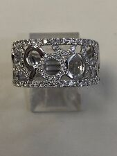 Gorgeous 14K White Gold Diamond Wide Band Ring Size 7, 1.15ct
