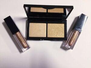 Laura Geller Hi-Def Glow Illuminator HEART OF GOLD & Peach Glow Cream Eyeshadow