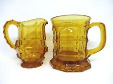 1920/30's JACOBEAN Chippendale Pressed Glass tankard and Creamer Jug