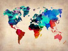 World Map in Watercolor Art Print - 32x24