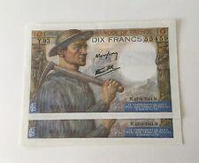 Suite 2 Numéros Billets 10 Francs Mineur 1944 NEUFS