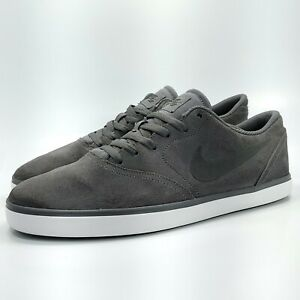 Nike SB Check Athletic Skate Shoe Mens Size 13 705265-007 Gray Suede Low Top