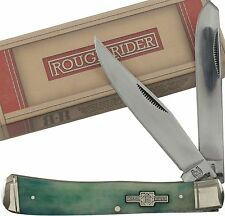 ROUGH RIDER Turquoise Smooth Bone TRAPPER Pocket Knife RR1253 2 Folding Blades