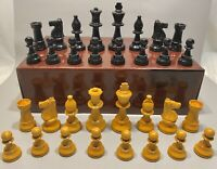 """Vintage Staunton Carved Wood Chess Pieces Set Lardy 3.5"""" King Weighted Chessmen"""
