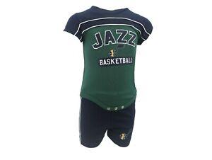 Utah Jazz Official NBA Baby Infant Size Athletic Creeper & Shorts Combo Set New