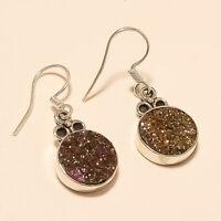 Black Friday Sale Rainbow Titanium Druzy Earrings 925 Sterling Silver Jewelry AA