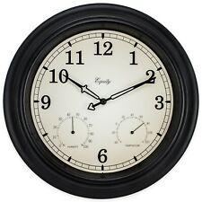 "27915 Equity by La Crosse 15.5"" Indoor/Outdoor Analog Wall Clock Temp/Humidity"