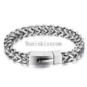 8mm Heavy Polish Stainless Steel Square Wheat Chain Men's Bracelet Bangle Silver