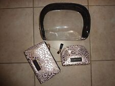 VICTORIAS SECRET LEOPARD 3 PIECE MULTI-USE COSMETIC/MAKEUP BAGS TOTE  NWT
