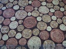 3 Yards Quilt Cotton Fabric - Hoffman Meadow Rain Tree Wood Rings Dark on Brown