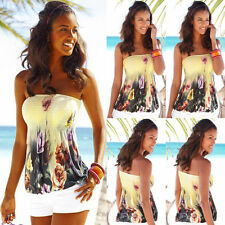 Sexy Womens Off Shoulder Strapless Vest Tank Tops Summer Casual Tee Shirt Blouse