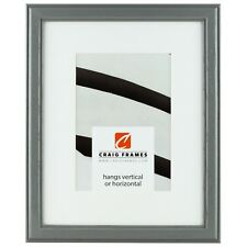 "Craig Frames 13x19"" Gray Picture Frame, White Mat with Opening for 9x13"" Image"
