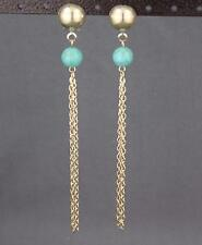 "gold turquoise bead chain tassel earrings super lightweight dangle 4.5"" long"