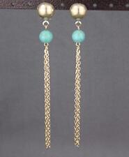 "gold turquoise bead chain tassel earrings super lightweight dangle 4.5"" long"