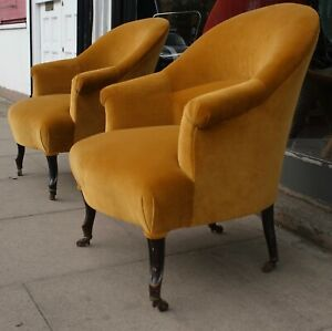 Two Antique French 19th century Napoleon III crapaud chairs recovered in velvet