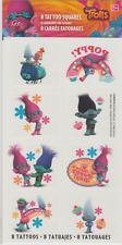 8 Trolls Tattoos (1 Sheet, 8 Perforations), Party Favors
