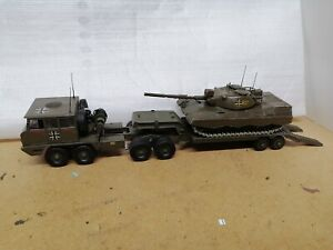 Dinky size Solido Berliet T12 German tank transporter military army used.