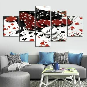 5 Panel Framed Poker Chips Playing Cards Modern Decor Canvas Wall Art HD Print