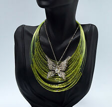 Green Seed Bead Floating Necklace & Silver Plated Rhinestone Butterfly Pendant