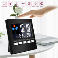 Digital LCD Display Thermometer Humidity Luminous Alarm Clock Calendar Weather