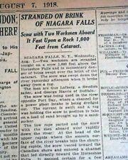Rare Old Iron NIAGARA SCOW Stranded at Horseshoe Niagara Falls 1918 Newspaper