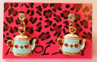 Betsey Johnson Crystal Rhinestone Enamel Teapot Post Earrings