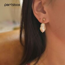 Peri'sBox Gold Color Ball Drop Freshwater Pearls Earrings Simple Stud Earring…