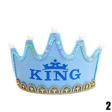 Prince Princess Crown Birthday Party LED Light up Hat Cap Tiara for Kid Adult .