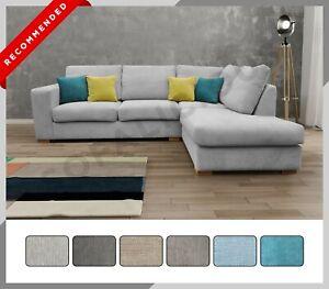 Brand NEW MELODY Modern Corner Sofa Fabric Right or Left Grey Cream Mocha Ocean