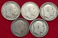 1902-1910 EDWARD VII STERLING SILVER SHILLINGS CHOICE OF YEAR FINE OR BETTER