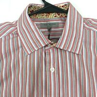 Ted Baker London Size 4 Striped French Cuff Button Front Dress Shirt Red NWT