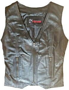 Motorcycle Women Vest Leather Sheep Waistcoat Soft Ladies Biker Zipper Vest