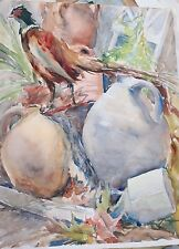 Miller Primm Gloucester MA artist watercolor still life pheasant & cottage ruins