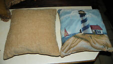 Pair of Lighthouse Decorative Print Throw Pillows  17 x 17