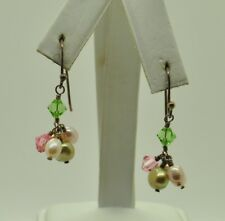 STERLING SILVER CLUSTER STYLE W/MULTI-COLORED BEADS & PEARLS EARRINGS#FMW928