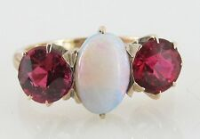 VINTAGE Victorian OPAL TOURMALINE 14K Rose GOLD Heirloom Estate Jewelry  RING