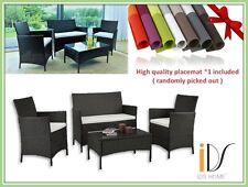 4 PCS Wicker Cushioned Rattan Patio Set Garden Lawn Sofa Furniture Seat