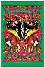 Bob Marley & Steve Wonder  Jamaica Concert Poster 1975