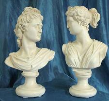 Coppia 2 Statue  Artemide e  Apollo  cm32 Patina, colore bianco antico