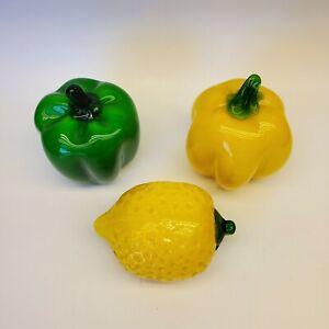 Vintage Art Glass Fruit & Veggies Green Pepper Yellow Pepper lemon