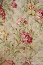 Antique French Bed valance DOUBLE SIDED 16.4 FEET LONG quilted textile floral